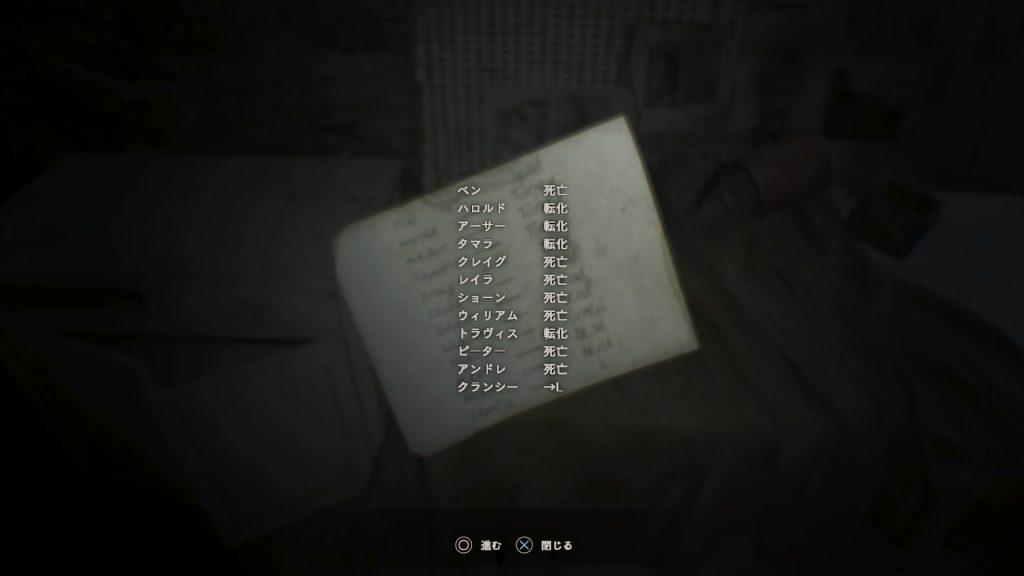 廃屋の地下牢前で入手する犠牲者リスト(裏)